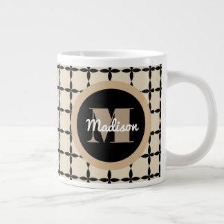 A Classic Beige & Black w/Monogram & Name Large Coffee Mug