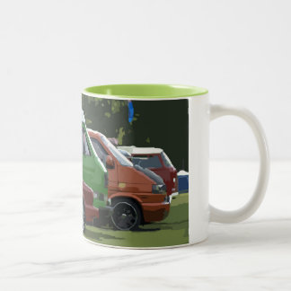 A classic car line up art picture on mug