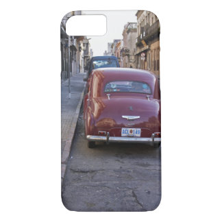 A classic old red Peugeot car parked on a street iPhone 7 Case