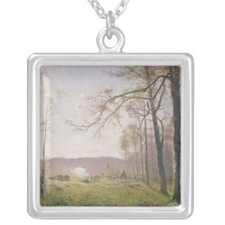 A Clearing in an Autumnal Wood, 1890 Silver Plated Necklace