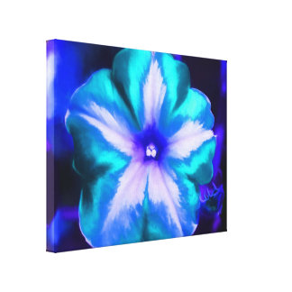 A Close Up of an Electric Neon Blue & Teal Flower Canvas Print