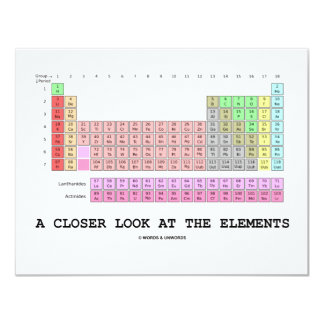 A Closer Look At The Elements (Chemistry) 11 Cm X 14 Cm Invitation Card