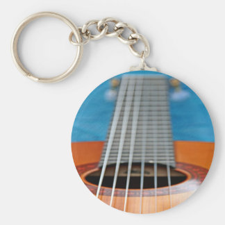 A Closeup of Guitar Strings Basic Round Button Key Ring
