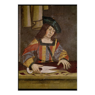 A Cloth Merchant Cutting Cloth Posters