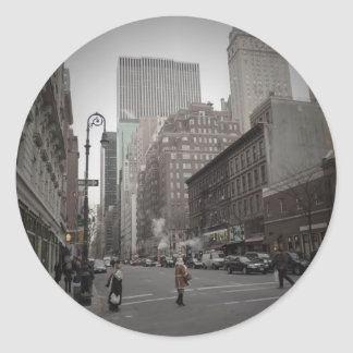 A Cloudy Day on the Upper East Side Round Sticker