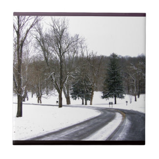 A Cold Winter Afternoon Drive Small Square Tile