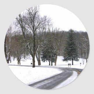 A Cold Winter Afternoon Drive Round Sticker