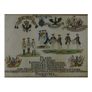 A collection of maneouvre plans postcard