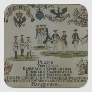 A collection of maneouvre plans square sticker