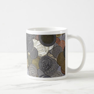A collection of old and international coins coffee mug