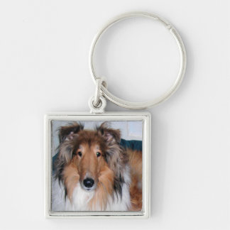 A Collie Silver-Colored Square Key Ring