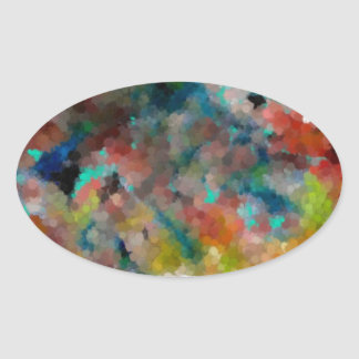 A Colorful Abstract Oval Sticker