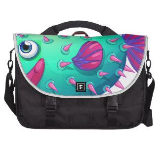 A colorful bubble fish laptop messenger bag
