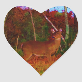 A Colorful Deer at Sunset Heart Sticker