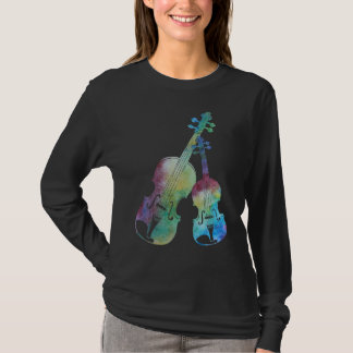 A Colorful Duet of Violin and Viola T-Shirt