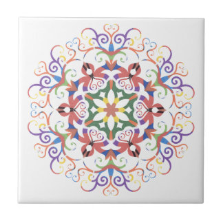 A colorful filigree Kaleidoscope Small Square Tile