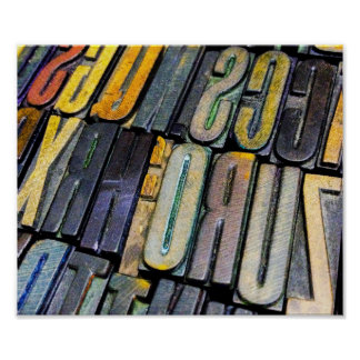 a colourful array of vintage letterpress type poster