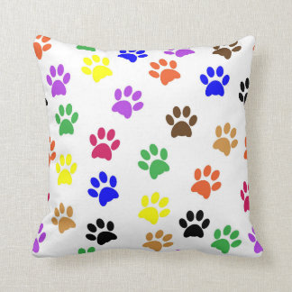 A Colourful cats traces - cats paws pillow