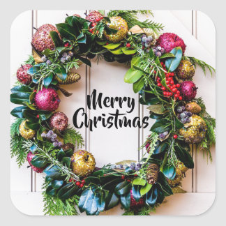A Colourful Christmas Wreath Holiday Card Stickers