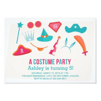 A Constume Party Girl's Birthday party invitation
