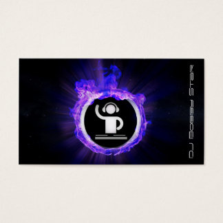 A cool blue flame DJ and producer business card