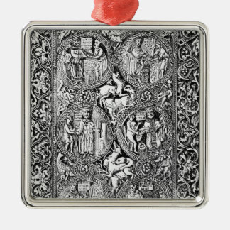 A copy of  ivory back Queen Melisende's Psalter Silver-Colored Square Decoration