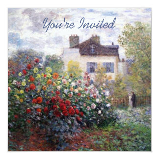 "A Corner of the Garden with Dahlias 5.25"" Square Invitation Card"
