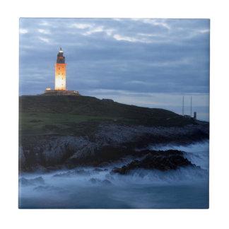 A Coruna Spain Torre de Hercules, lighthouse on th Tile