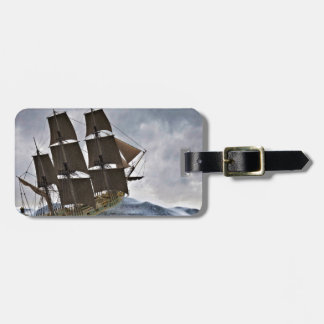A Corvette Sailing Ship in a Storm Luggage Tag
