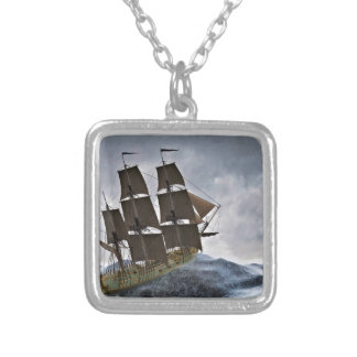 A Corvette Sailing Ship in a Storm Silver Plated Necklace
