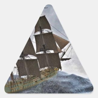 A Corvette Sailing Ship in a Storm Triangle Sticker