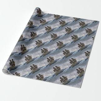 A Corvette Sailing Ship in a Storm Wrapping Paper