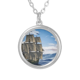 A Corvette Sailing Ship Sailing on a Calm Day Silver Plated Necklace