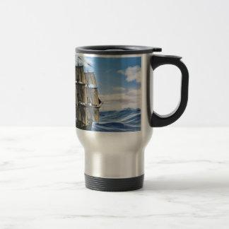 A Corvette Sailing Ship Sailing on a Calm Day Travel Mug