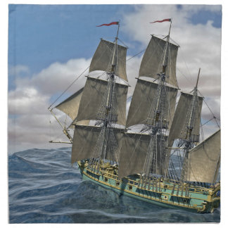 A Corvette ship Running Before the Wind Napkin