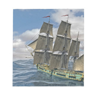 A Corvette ship Running Before the Wind Notepad