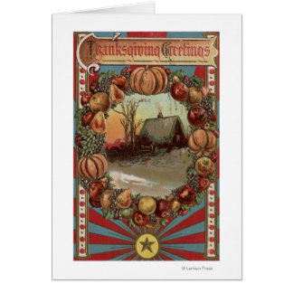 A Country Scene with Produce Border Greeting Card