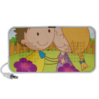A couple dating at a garden in the hilltop iPhone speaker