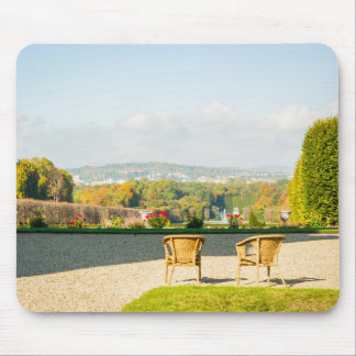 A couple of chairs watching the landscape mouse pad
