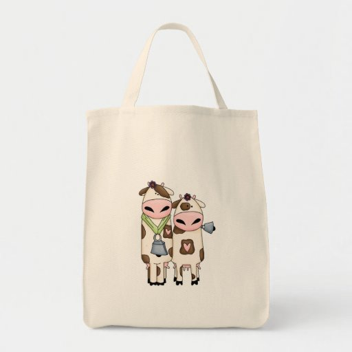 a couple of cute moo cows tote bag