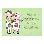 """a couple of cute moo cows moving announcement 3.5"""" x 5"""" invitation card"""
