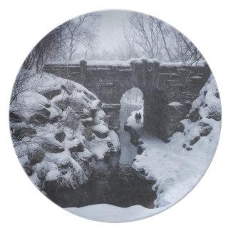 A Couple Walking Under a Snowy Glen Span Arch Plate