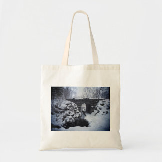A Couple Walking Under a Snowy Glen Span Arch Tote Bag