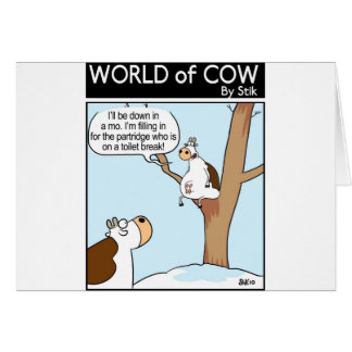 A Cow in a pear Tree Greeting Card