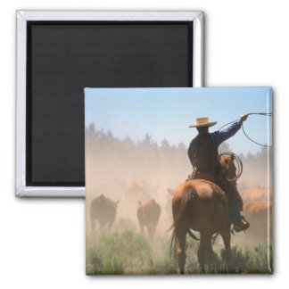 A cowboy out working the herd on a cattle magnet