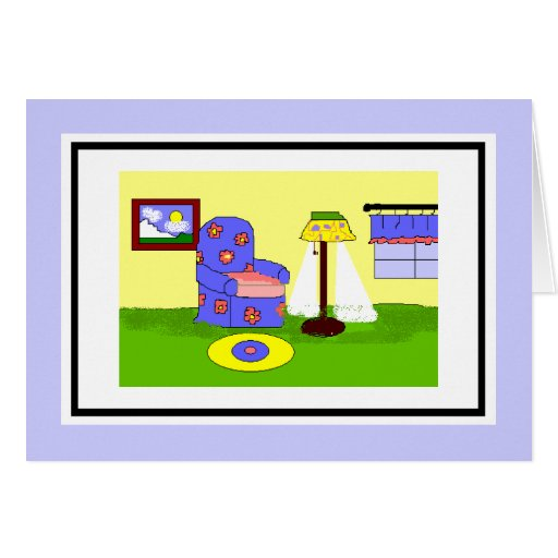 A cozy room greeting cards