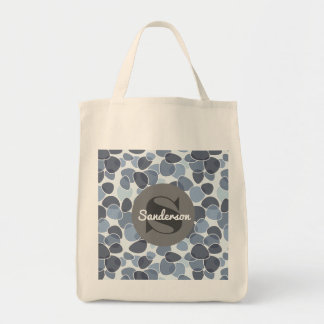 A Crisp Blue & White Abstract w/Monogram Grocery Tote Bag