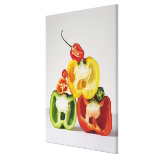 A cross-section of peppers stretched canvas print