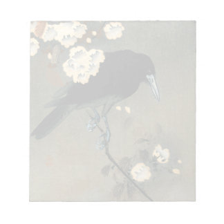 A Crow and Blossom by Ohara Koson Vintage Notepad