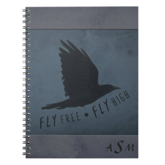 A Crow in Flight on Grungy Blue & Gray Background Notebook